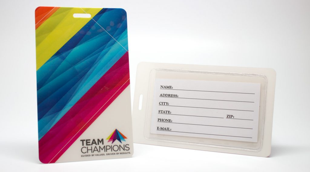 Custom Luggage Tags with adhesive pouch